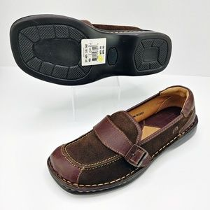 Born | NWT Leather & Suede Buckle Loafers